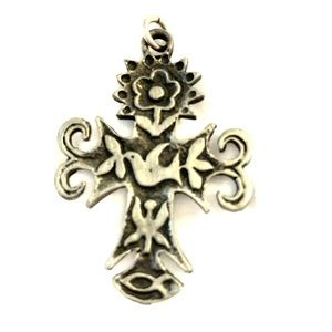 Pewter Pennsylvania Dutch cross two inches